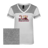 Ladies White/Heathered Nickel Juniors Varsity V Neck Tee-Mountaineers w/ Mountain Lion