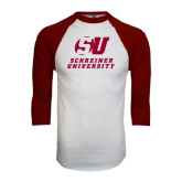 White/Maroon Raglan Baseball T Shirt-Official Logo