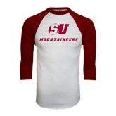White/Maroon Raglan Baseball T Shirt-SU Mountaineers