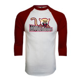 White/Maroon Raglan Baseball T Shirt-Mountaineers w/ Mountain Lion