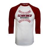 White/Maroon Raglan Baseball T Shirt-Baseball Design