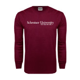 Maroon Long Sleeve T Shirt-University Wordmark