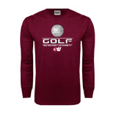 Maroon Long Sleeve T Shirt-Golf Design