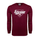 Maroon Long Sleeve T Shirt-Softball Design