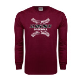 Maroon Long Sleeve T Shirt-Baseball Design
