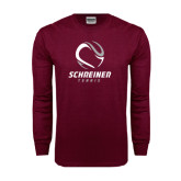 Maroon Long Sleeve T Shirt-Tennis Design