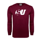Maroon Long Sleeve T Shirt-SU