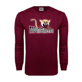 Maroon Long Sleeve T Shirt-Mountaineers w/ Mountain Lion