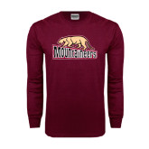 Maroon Long Sleeve T Shirt-Mountaineers w/ Mountain Lion Walking