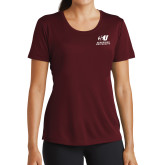 Ladies Syntrel Performance Maroon Tee-Official Logo