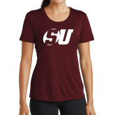 Ladies Performance Maroon Tee-SU
