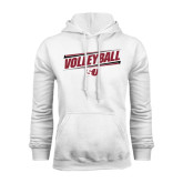 White Fleece Hood-Volleyball Design