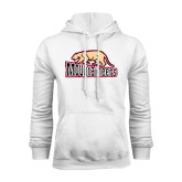 White Fleece Hoodie-Mountaineers w/ Mountain Lion Walking