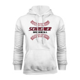 White Fleece Hoodie-Baseball Design