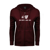 ENZA Ladies Maroon Fleece Full Zip Hoodie-SU Mountaineers