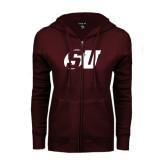 ENZA Ladies Maroon Fleece Full Zip Hoodie-SU