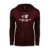 ENZA Ladies Maroon Fleece Full Zip Hoodie-Softball