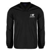 V Neck Black Raglan Windshirt-Official Logo