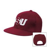 Maroon Flat Bill Snapback Hat-SU