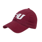 Maroon Twill Unstructured Low Profile Hat-SU