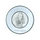 Silver Two Tone Small Round Photo Frame-University Wordmark Engraved