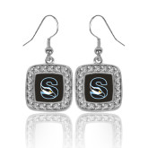 Crystal Studded Square Pendant Silver Dangle Earrings-Secondary Logo