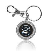 Crystal Studded Round Key Chain-Secondary Logo