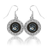 Crystal Studded Round Pendant Silver Dangle Earrings-Secondary Logo