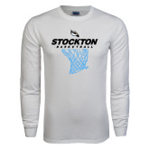 White Long Sleeve T Shirt-Basketball Design