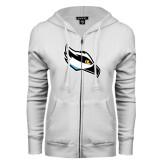 ENZA Ladies White Fleece Full Zip Hoodie-Osprey Head