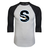 White/Black Raglan Baseball T-Shirt-Secondary Logo