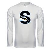Performance White Longsleeve Shirt-Secondary Logo
