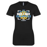 Next Level Ladies SoftStyle Junior Fitted Black Tee-Stockton University 2021 Volleyball Champs