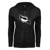 ENZA Ladies Black Fleece Full Zip Hoodie-Osprey Head