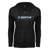 ENZA Ladies Black Fleece Full Zip Hoodie-Wordmark