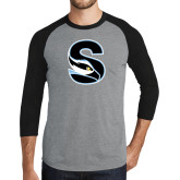 Grey/Black Tri Blend Baseball Raglan-Secondary Logo