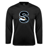 Performance Black Longsleeve Shirt-Secondary Logo