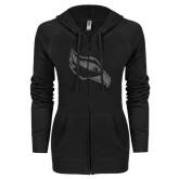 ENZA Ladies Black Light Weight Fleece Full Zip Hoodie-Osprey Head Graphite Soft Glitter