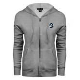 ENZA Ladies Grey Fleece Full Zip Hoodie-Secondary Logo