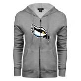 ENZA Ladies Grey Fleece Full Zip Hoodie-Osprey Head