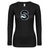 Ladies Black Long Sleeve V Neck Tee-Secondary Logo