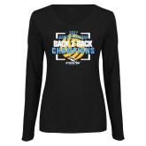 Ladies Black Long Sleeve V Neck Tee-Stockton University 2021 Volleyball Champs