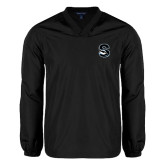 V Neck Black Raglan Windshirt-Secondary Logo