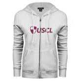ENZA Ladies White Fleece Full Zip Hoodie-Shield USCL Pink Glitter