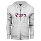 ENZA Ladies White Fleece Full Zip Hoodie-Shield USCL Pink Glitter
