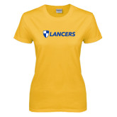 Ladies Gold T Shirt-Shield Lancers
