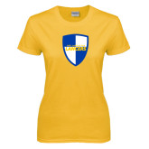 Ladies Gold T Shirt-Shield