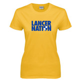 Ladies Gold T Shirt-Lancer Nation