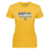 Ladies Gold T Shirt-USCL Stencil Texture