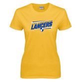 Ladies Gold T Shirt-Slanted USC Lancaster Lancers